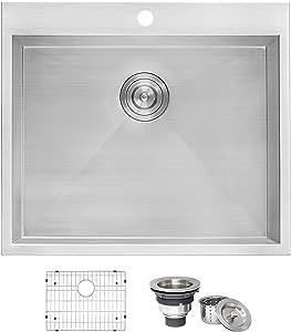 "Ruvati Topmount Laundry Utility Sink 25"" x 22"" x 12"" Deep 16 Gauge Stainless Steel - RVU6010"