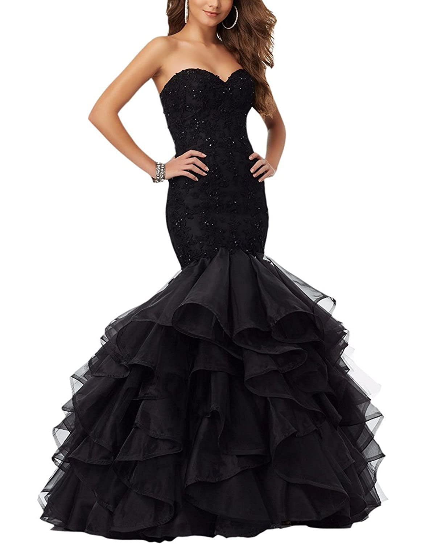Black YMSHA Women's Long Lace Beads Prom Evening Dress Mermaid Ruffles Formal Wedding Gown PM08