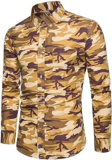 JURTEE Camisa para Hombre Camiseta De Solapa Camuflaje Impresión Polos Manga Larga Blusa con Botones Moda Slim Fit Tops: Amazon.es: Ropa y accesorios
