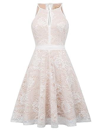 ce8267bdfeec Women Sleeveless Halter Lace Bridesmaid Wedding Dress Beige S KK638-2