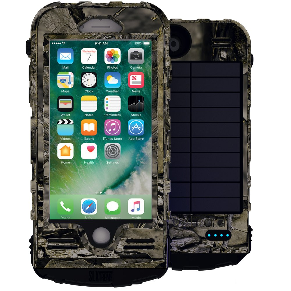 SnowLizard SLXtreme iPhone 7 Case. Solar Powered, Rugged and Waterproof with a built in Battery - Mossy Oak by Snow Lizard Products