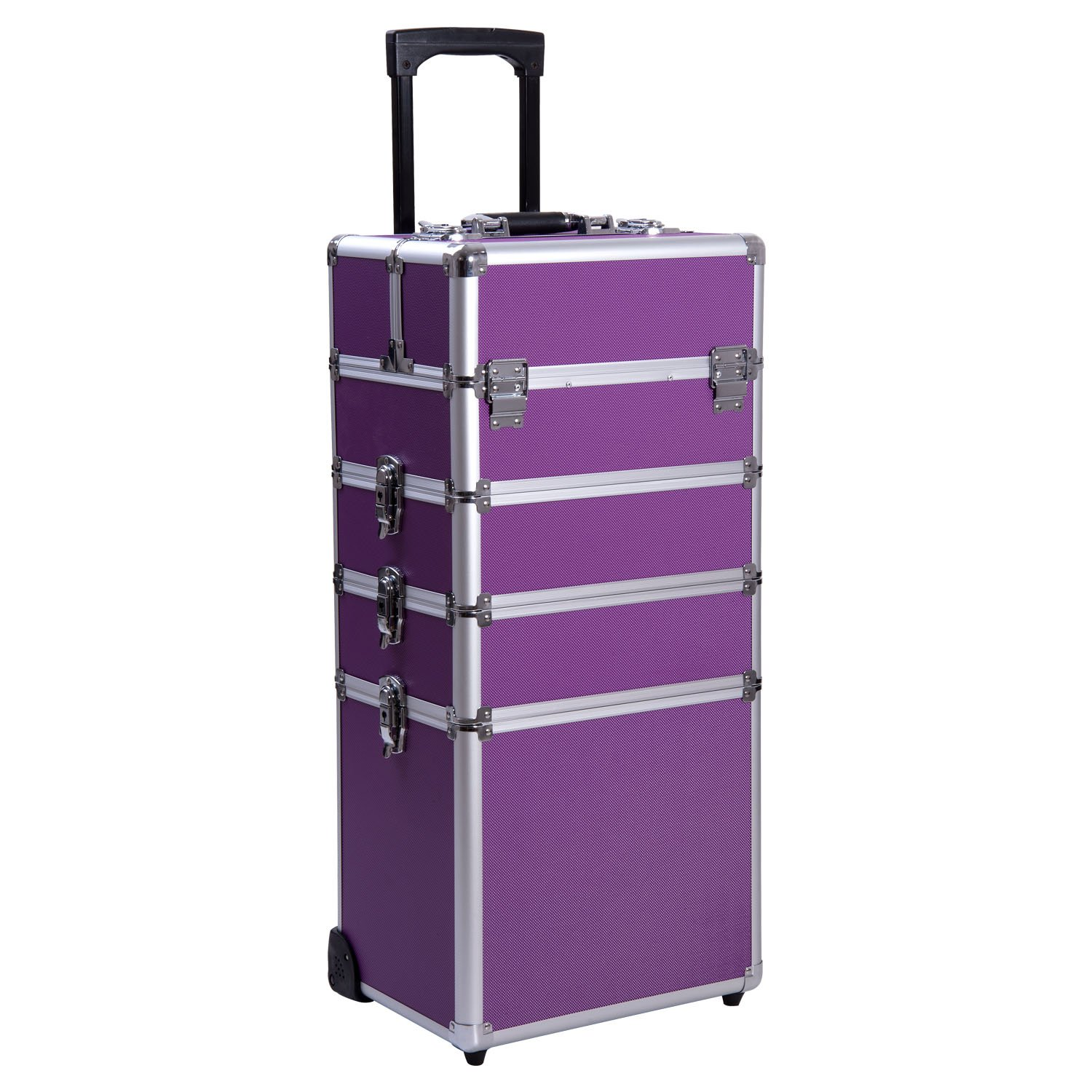 Ollieroo 4 in 1 Aluminum Rolling Cosmetic Makeup Train Cases Trolley Professional Artist Train Case Organizer Box Lift Handle Lock 2 wheel 2 Keys Each Layer Total 8 Keys Purple by Ollieroo (Image #1)