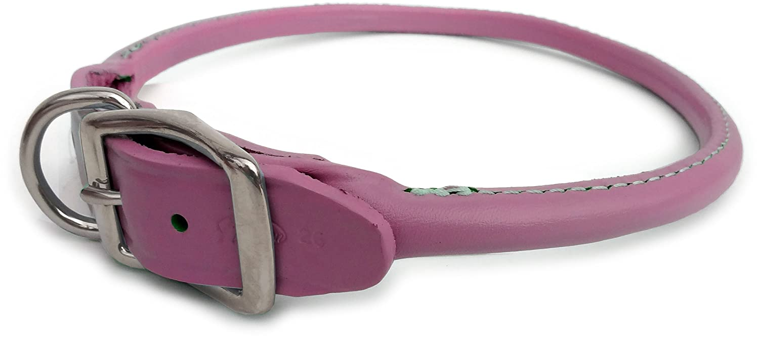 Round Dog Collar Size  0.5  x 10 , color  Pink