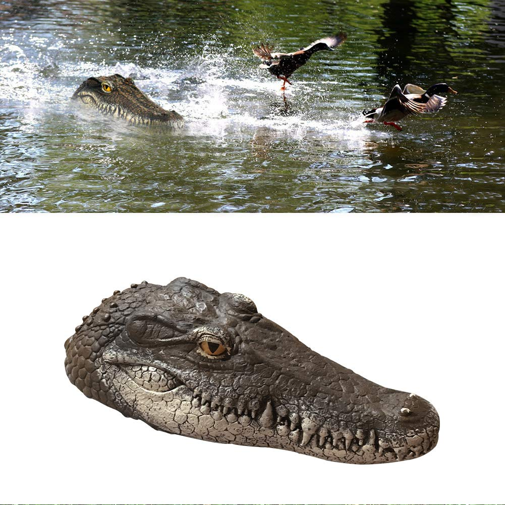 EpochTech Float Crocodile Alligator Head Decoy, Reptile Toy for Fun Effective Unwanted Animals Deterrent Solution Defender for Pool Pond Protection Garden Decoration Bird Duck Control,13.8x2.6x3.7 in