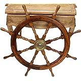 Barre à roue de navire - bois/laiton - 93 cm