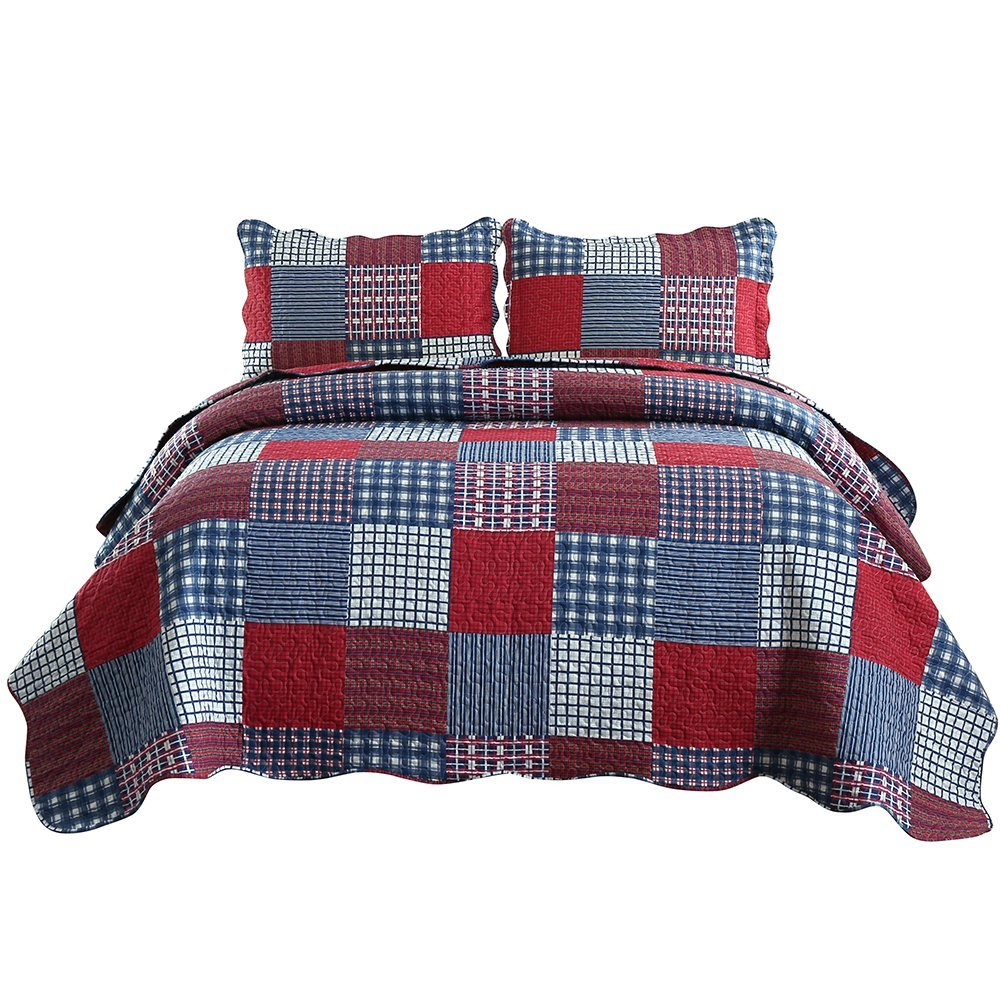 JessyHome Summer Quilts King Size,Plaid Patchwork Coverlet Set,Reversible Bedspread Set,3 Pieces 1 Quilts 2 Pillow Shams