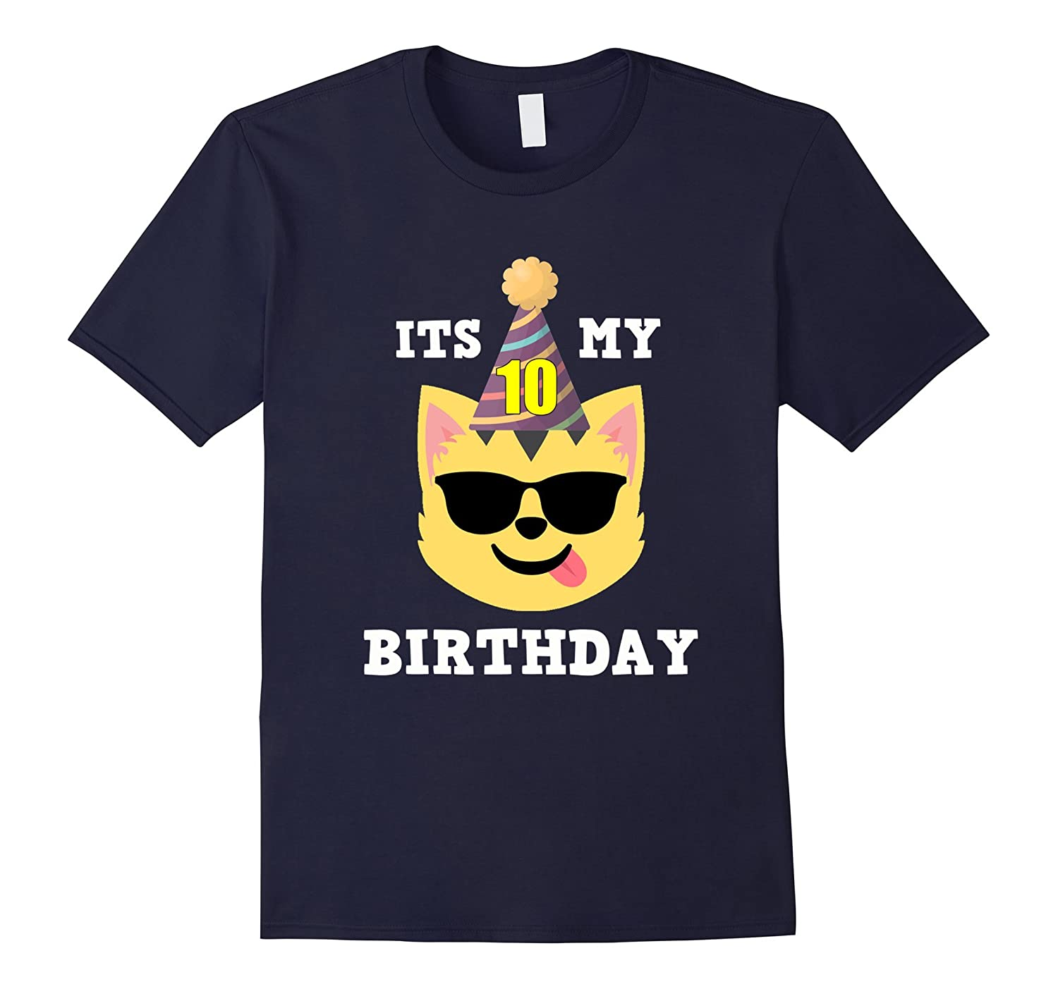 10th Birthday T-Shirt Cool Shades Cat Emoji Birthday Shirt-TH