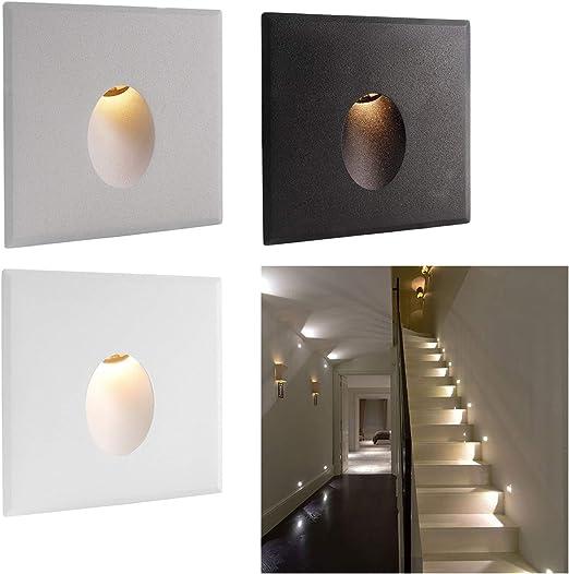 Segna Passo LED Luz gota para escaleras pasillo pared LED 2,2 W Driver incluido – Luz Blanco Cálido acabado aluminio gris: Amazon.es: Iluminación