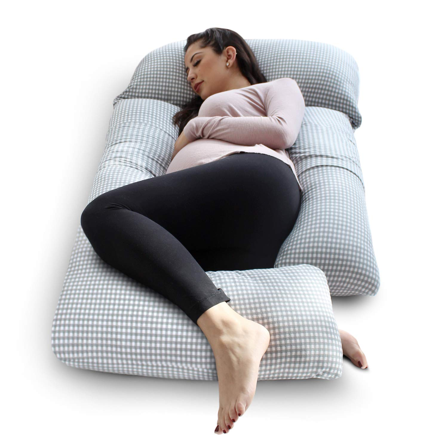 eklo SleepNook Pregnancy Pillow - 3 Piece Full Body Maternity Pillow with Super Soft Jersey Cover
