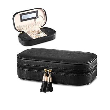 Vlando - Caja organizadora de joyería de Viaje con borlas de Piel sintética, con Compartimento para Almacenamiento: Amazon.es: Hogar