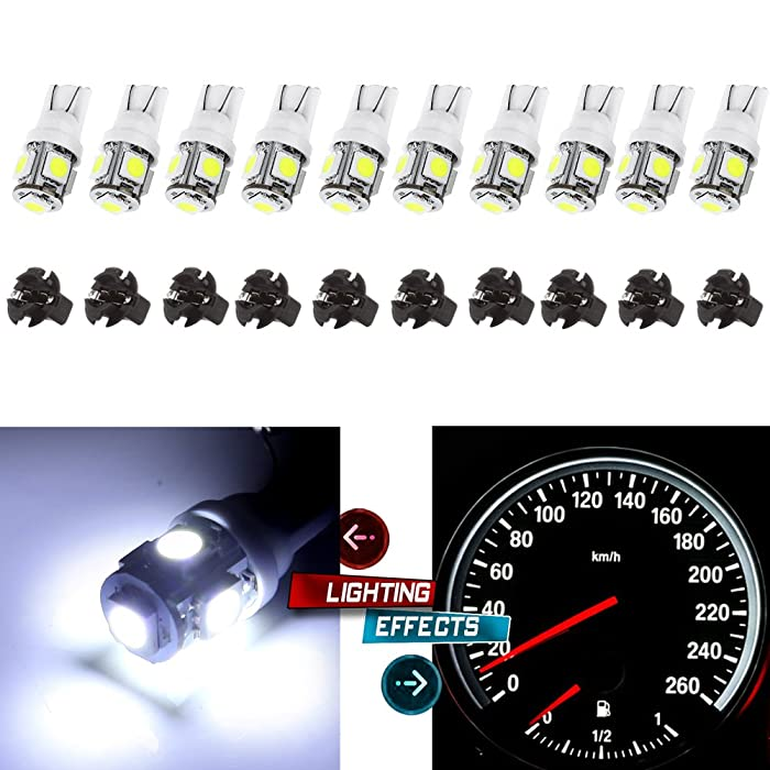 cciyu (10) T10 5-5050-SMD PC194 LED Bulb Instrument Panel Cluster Dash Light Twist Lock Socket (white)