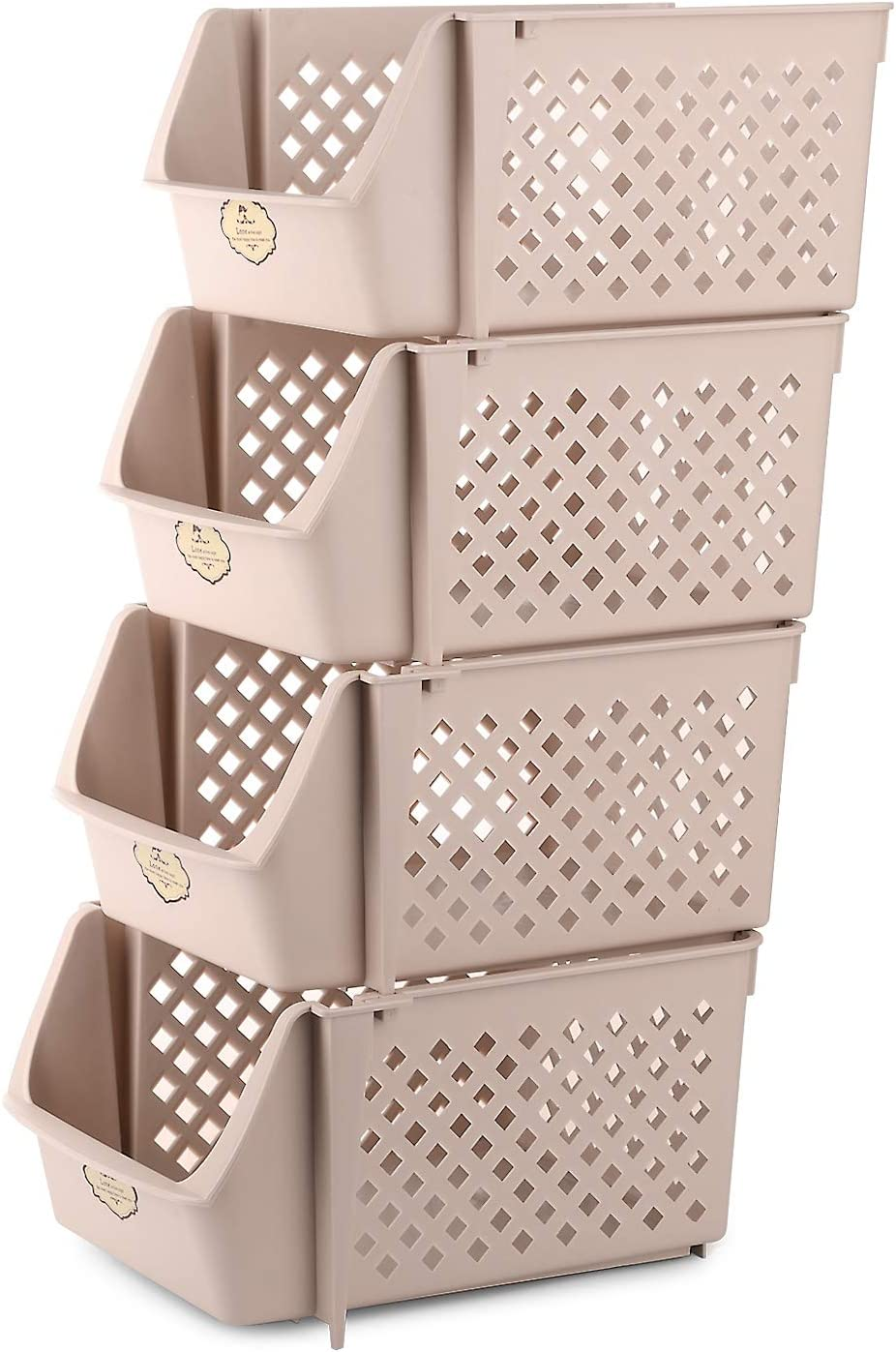 Titan Mall Stackable Storage Baskets for Food, Snacks, Bottles, Toys, Toiletries, Plastic Storage Baskets Set of 4, 15x10x7 Inch/bin, All Beige Color, Stackable Storage Bins for Space Saving