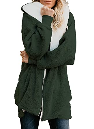 ReachMe Women s Oversized Full Zip Up Sherpa Hoodie Fleece Jacket with  Pockets(Army Green 95a9248ed