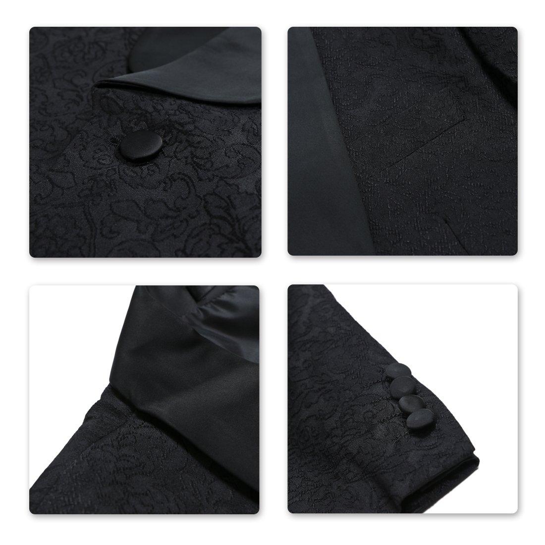 Sliktaa Costume Homme 3 Pièces Noir Formel Élégant Haut de Smoking Mariage  Business Bal Veste Gilet Pantalon 0e44a89189a