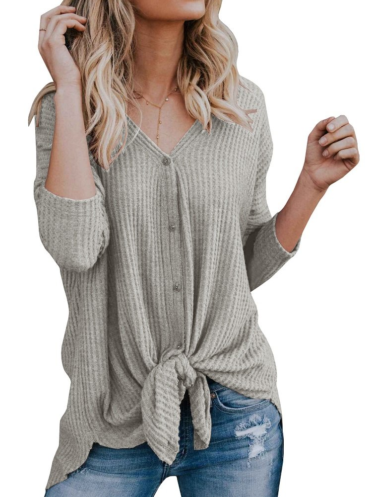Women's Button Down Long Sleeve Tie Front Tops Loose Knit Casual Henley Shirts
