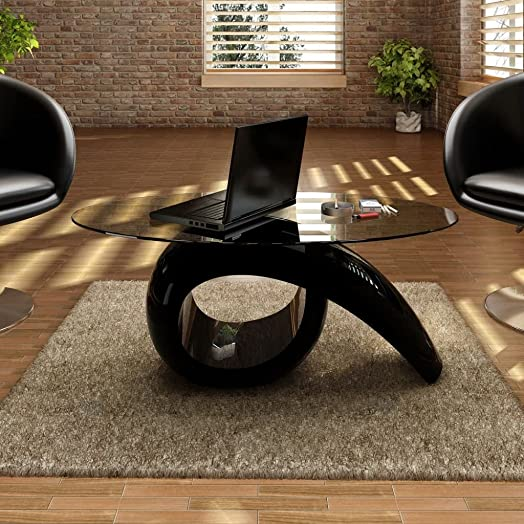 Festnight High Gloss Coffee Table Oval Tempered Glass Top End Side Table