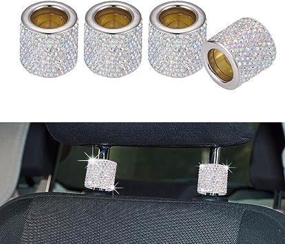 4 Pcs Crystal Car Seat Headrest Collar Decor Charms Diamond Interior Accessories