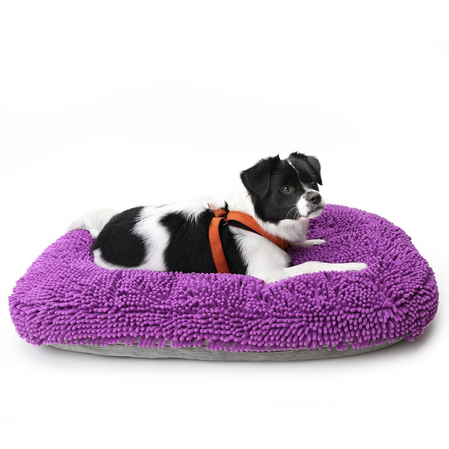 Pawaboo Dog Bed, 35.8'' x 27.5'' Chenille Large Dog Cushion Detachable and Washable Dog Mat Comfort Dog Nap Mat Durable Soft Pad with Zipper Closure for Pet Sleeping and Lying Indoor, Purple & Gray