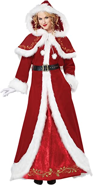 Amazon.com: California Costumes Mrs. Claus Deluxe - Disfraz ...
