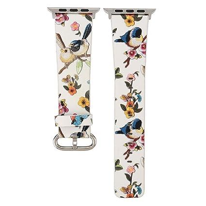 Komise pájaros flores imprimir correa de piel correa de Tour viaje pulsera correa de reloj para