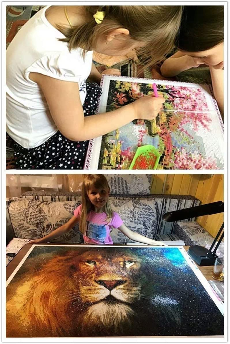 Wgniip 5D DIY Kids Paint by Number Kits Full Round Diamond Painting by Numbers Kits for Children Rhinestone Diamond Embroidery Home Wall D/écor White Horse 14X18 inches