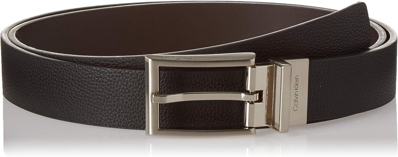 Calvin Klein Cinturón de cuero de guijarro reversible para hombre, 30 mm, negro, 40