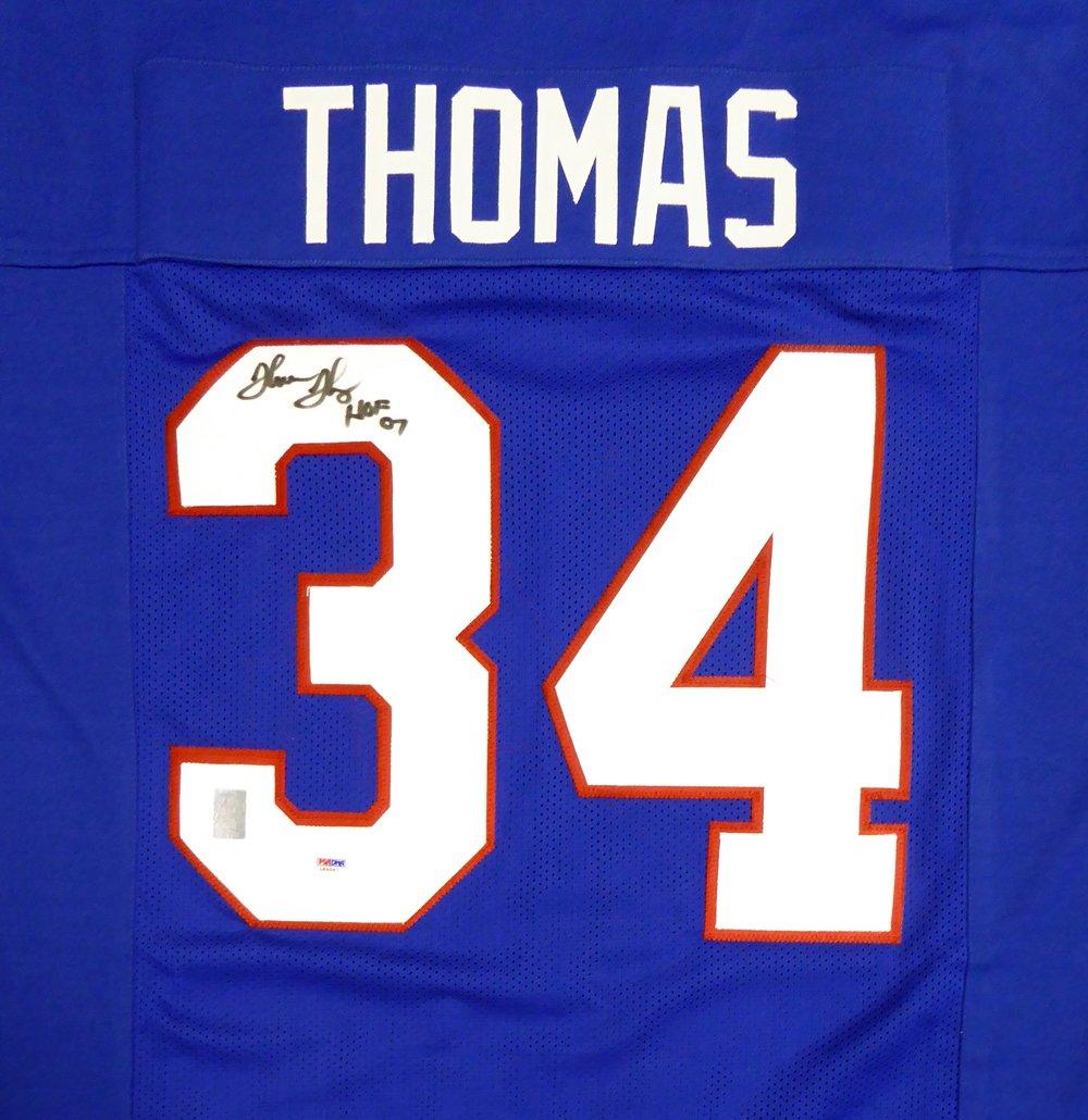 BUFFALO BILLS THURMAN THOMAS AUTOGRAPHED BLUE JERSEY'HOF 07' PSA/DNA STOCK #113793