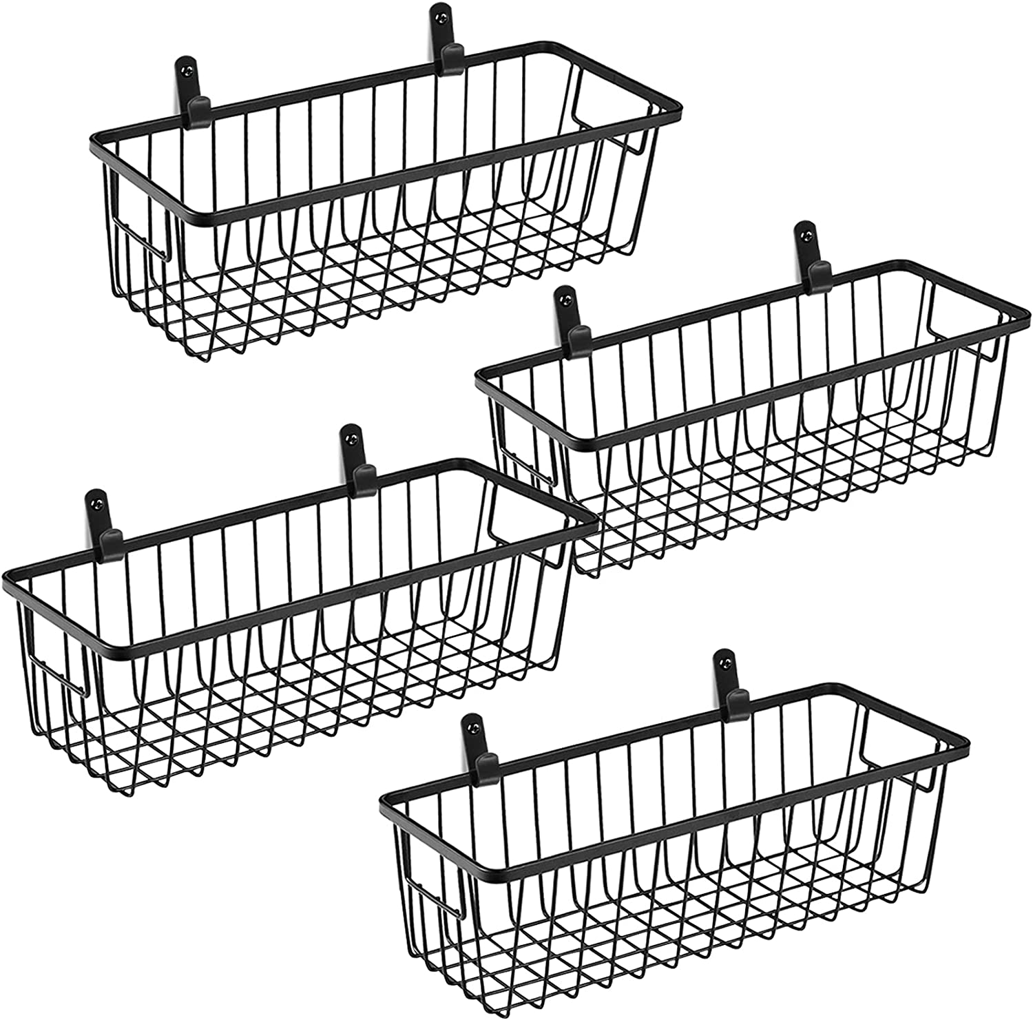 SheeChung Farmhouse Metal Wire Bin Basket with Wall Mount - Small, 4 Pack - Portable Hanging Wall Basket, Rustic Home Storage Organizer for Cabinets,Pantry, Closets, Bathroom, Kitchen,Bedroom(Black)