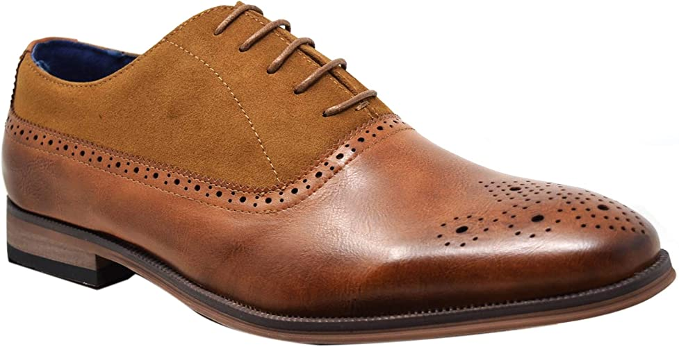 Mens Brogue Shoes Leather  Smart Casual Lace Up Work Office Derby Wedding Size
