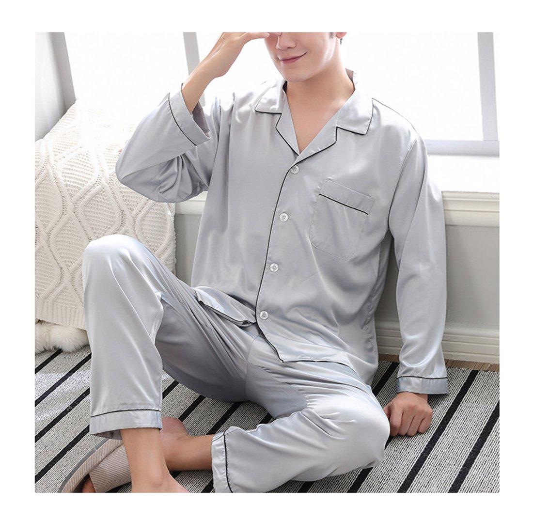 Respeedime Autumn Home Service Silk Pajamas Summer Men 's Long Sleeved Trousers Sets Sleepwear Lake Bule Size XL