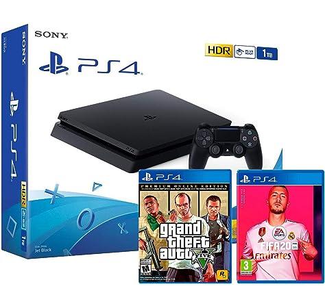 PS4 Slim 500Gb Negra Playstation 4 Consola (Pack 3 Juegos) + FIFA ...