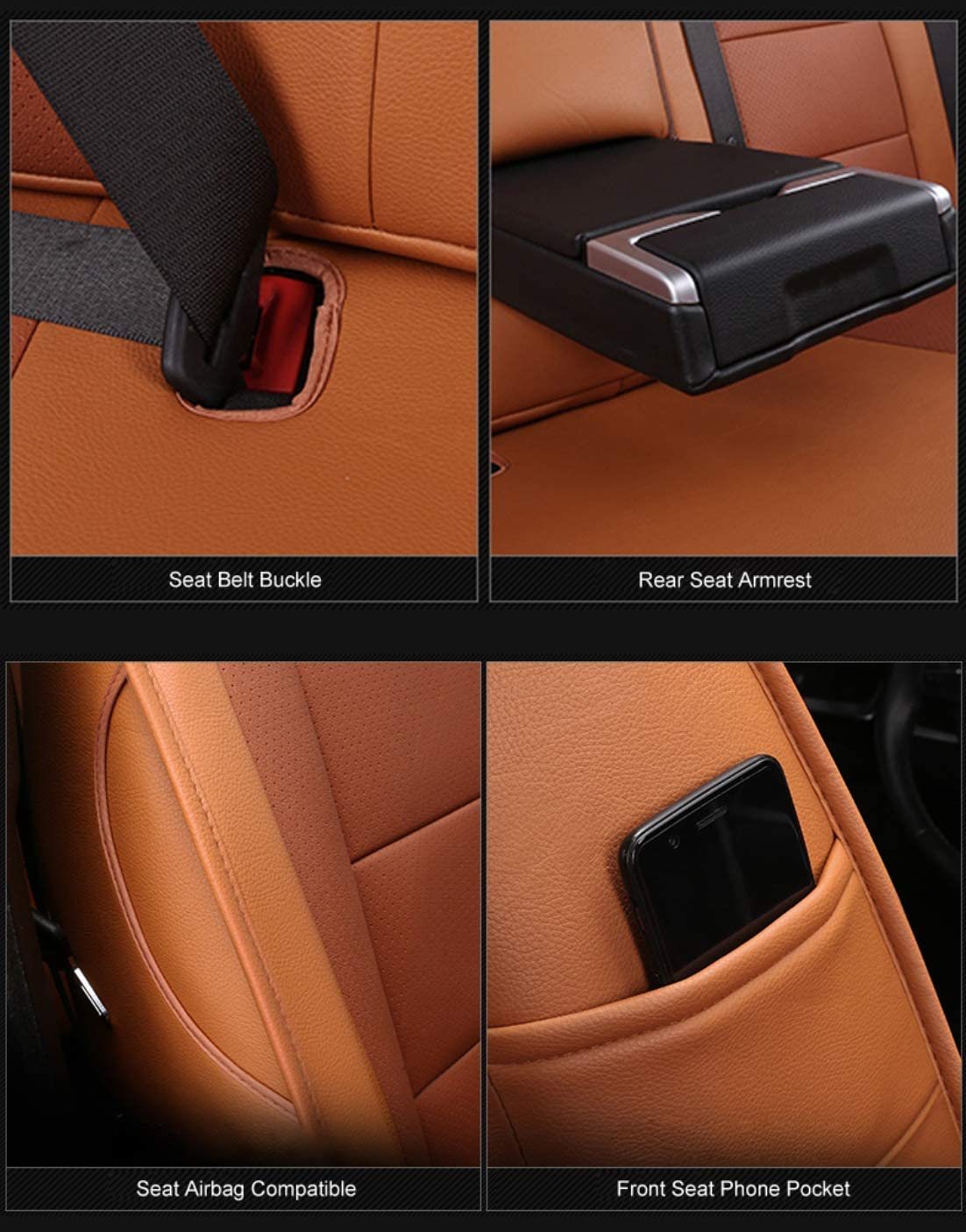 2017-2021 CRV, Black OASIS AUTO 2017-2021 CRV Custom Fit PU Leather Seat Cover Compatible with 2017-2018-2019-2020-2021 Honda CR-V