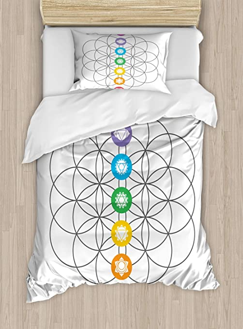 Amazon Com Ambesonne Geometry Duvet Cover Set Chakra Points In Vintage Concentric Rings Of Partial Circle Theme Image Decorative 2 Piece Bedding Set With 1 Pillow Sham Twin Size White Grey Kitchen