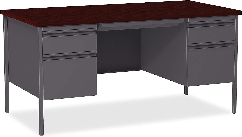 Lorell Fortress Series Mahogany Laminate Top Desk