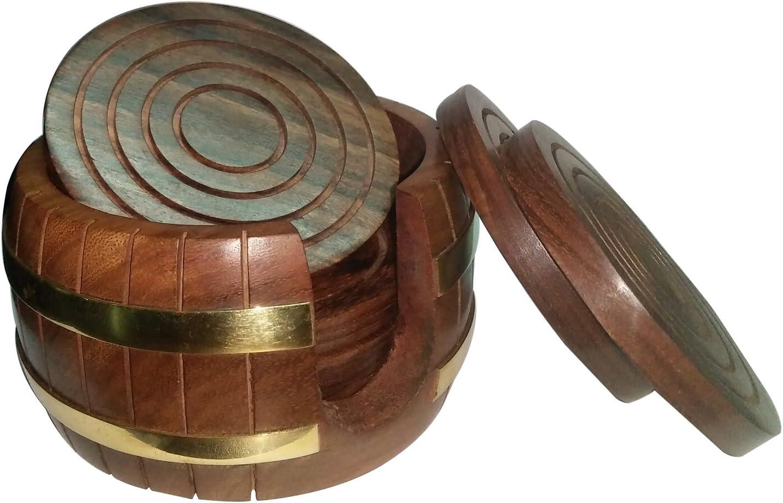 Edivine Lot de 6 dessous de verre en bois avec support en forme de tonneau Pour cadeau de No/ël ou cadeau pour une s/œur /à Rakhi