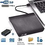 Grabadora DVD Externa, iAmotus Unidades CD/DVD Externas USB 3.0 Lector Grabadora Y Tipo-c Grabadora Externa Ultra Slim…