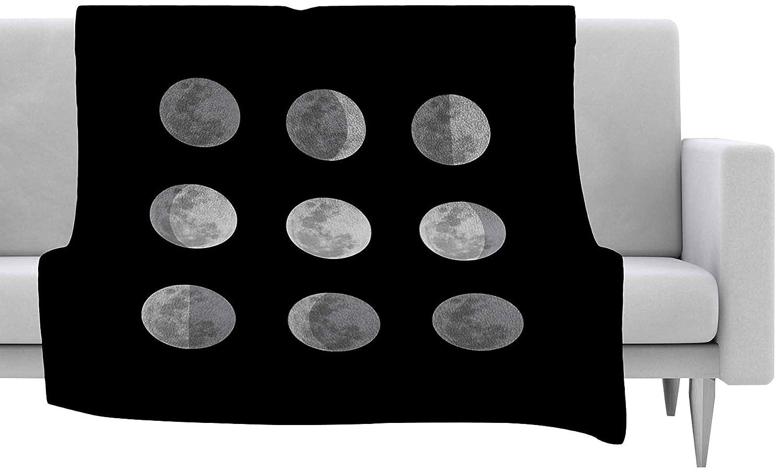 Kess InHouse Jackie Rose Lunar OCD Black Gray Fleece Throw Blanket 40 X 30 40 by 30-Inch