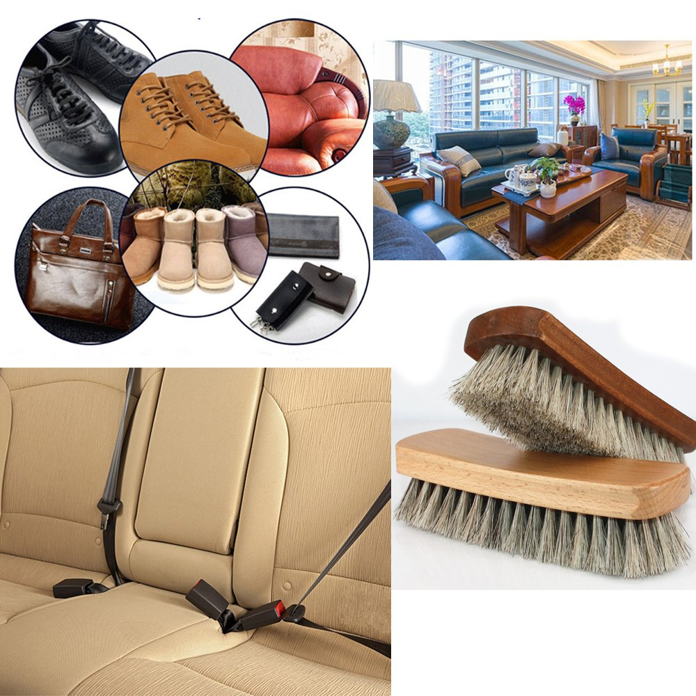 Shoe Shine Brushes MoYag Large Professional Horse Hair Brushes for Shoes, Boots & Other Leather Care by MoYag (Image #7)