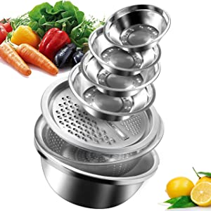 (Set Of 7) Multifunctional Stainless Steel Drain Basket Vegetable Cutter - Nesting Bowls(Size 5/2.7/2.2/1.7/1.4 QT) - 4 in 1 Julienne Grater, Stainless Steel Basin for Cooking, Prepping, Food Storage