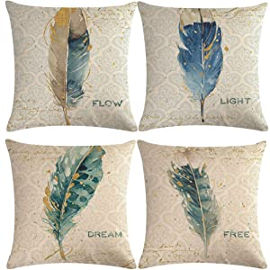 "7COLORROOM 4 Pack Feather Pillow Covers Luxury Nature Inspired Printed Cushion Cover,Cotton Linen Home Decorative Pillowcases for Sofas Beds Chairs 18"" x 18"" Inch(Free Dream Flow Light) (Feather)"