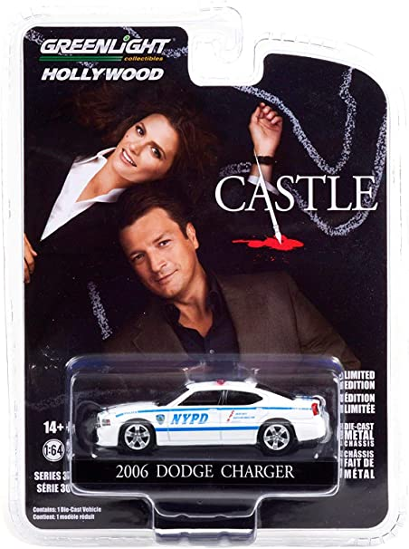 2006 Dodge Charger White New York City Police Department (NYPD) Castle (2009-2016) TV Series 1/64 Diecast Model Car by Greenlight 44900 D