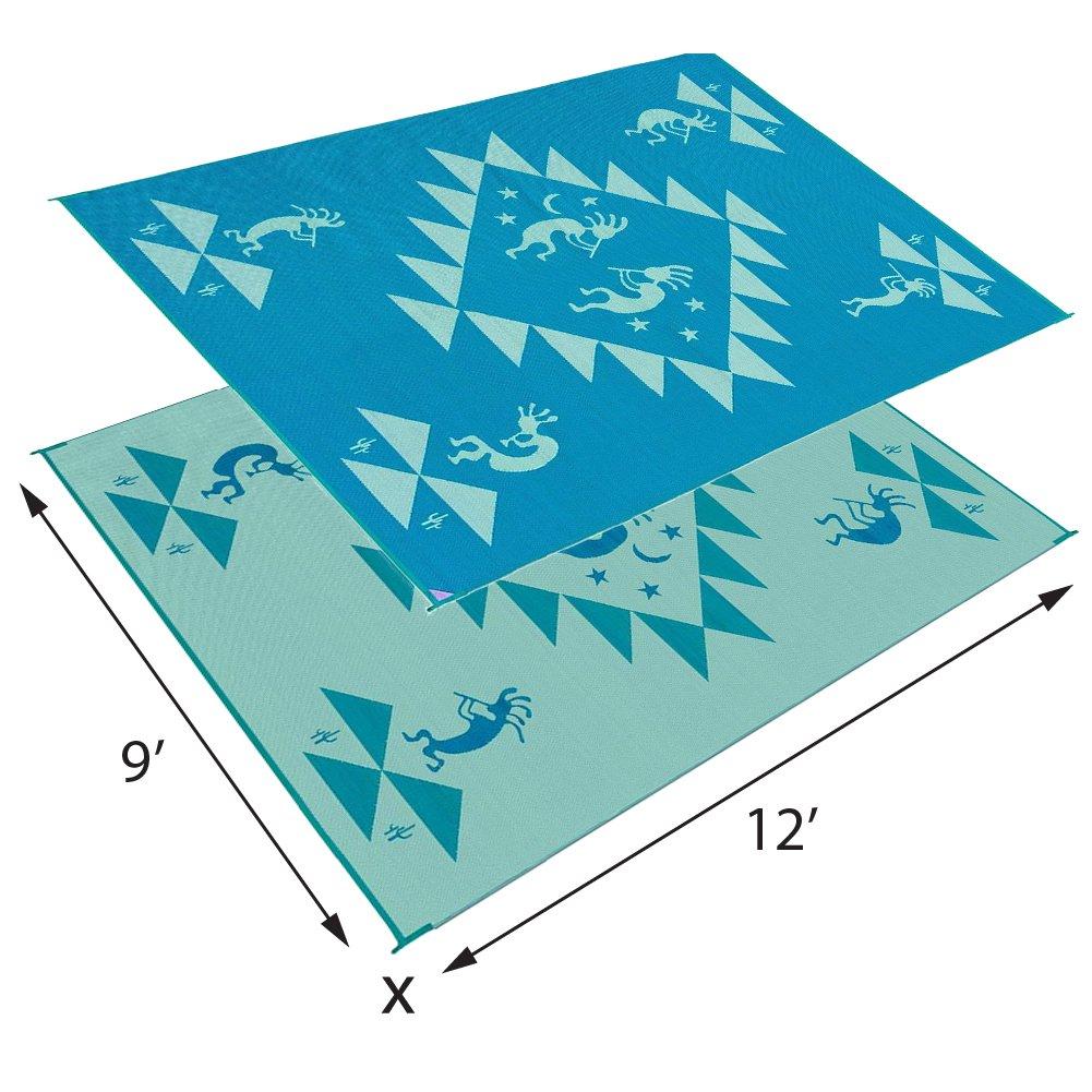 Reversible Mats 169124 Turquoise//Blue//Green 9-Feet x12-Feet Kokopelli Mat