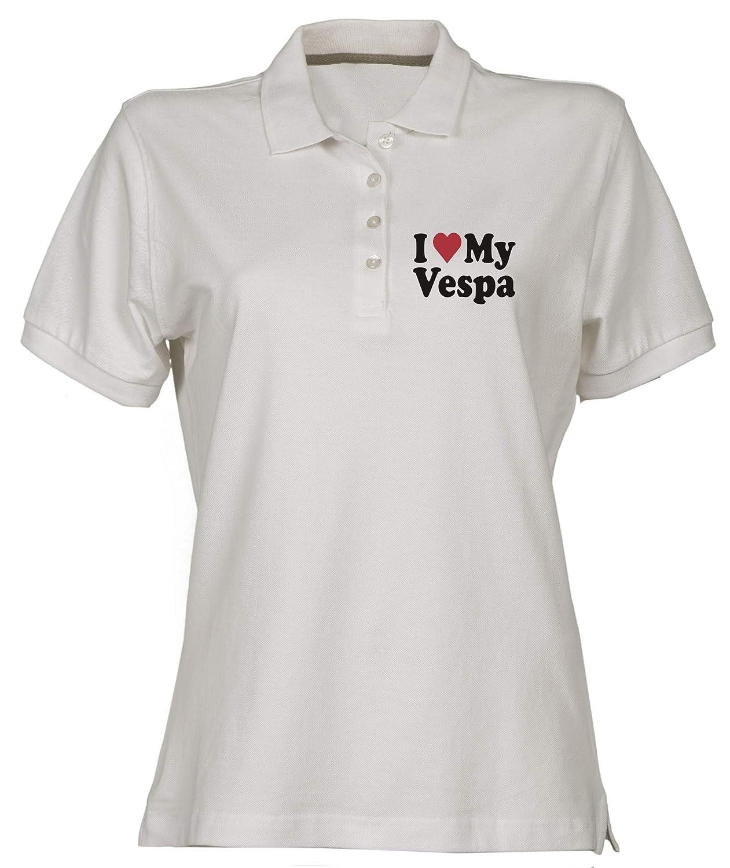 Polo para Mujer Blanco WC0401 I Heart Love MY Vespa: Amazon.es ...
