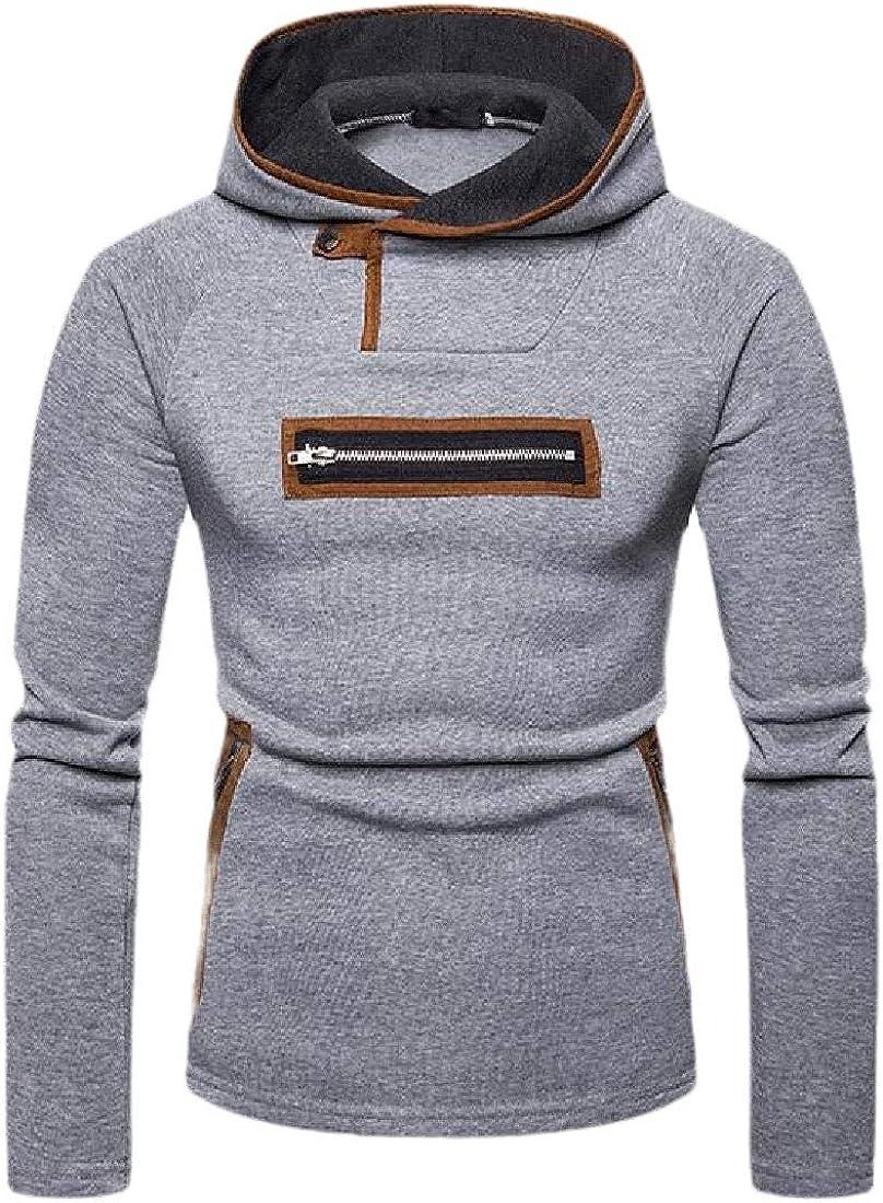 CYJ-shiba Mens Casual Hooded Pullover Long Sleeve Zipper Decoration Warm Pocket Shirt Sweatshirt