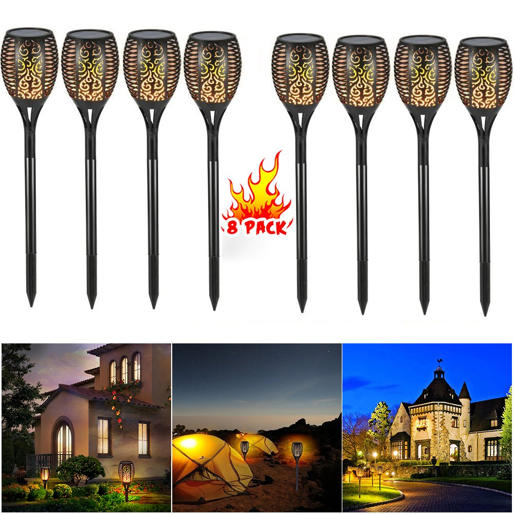 PinPle Solar Lights Christmas Gift 8 Pack of Solar Path Torches Lights 96 LED Dancing Flame Torches Lights Outdoor Landscape Decoration for Patio Garden Path Yard Wedding Party (8 PACK) by PinPle