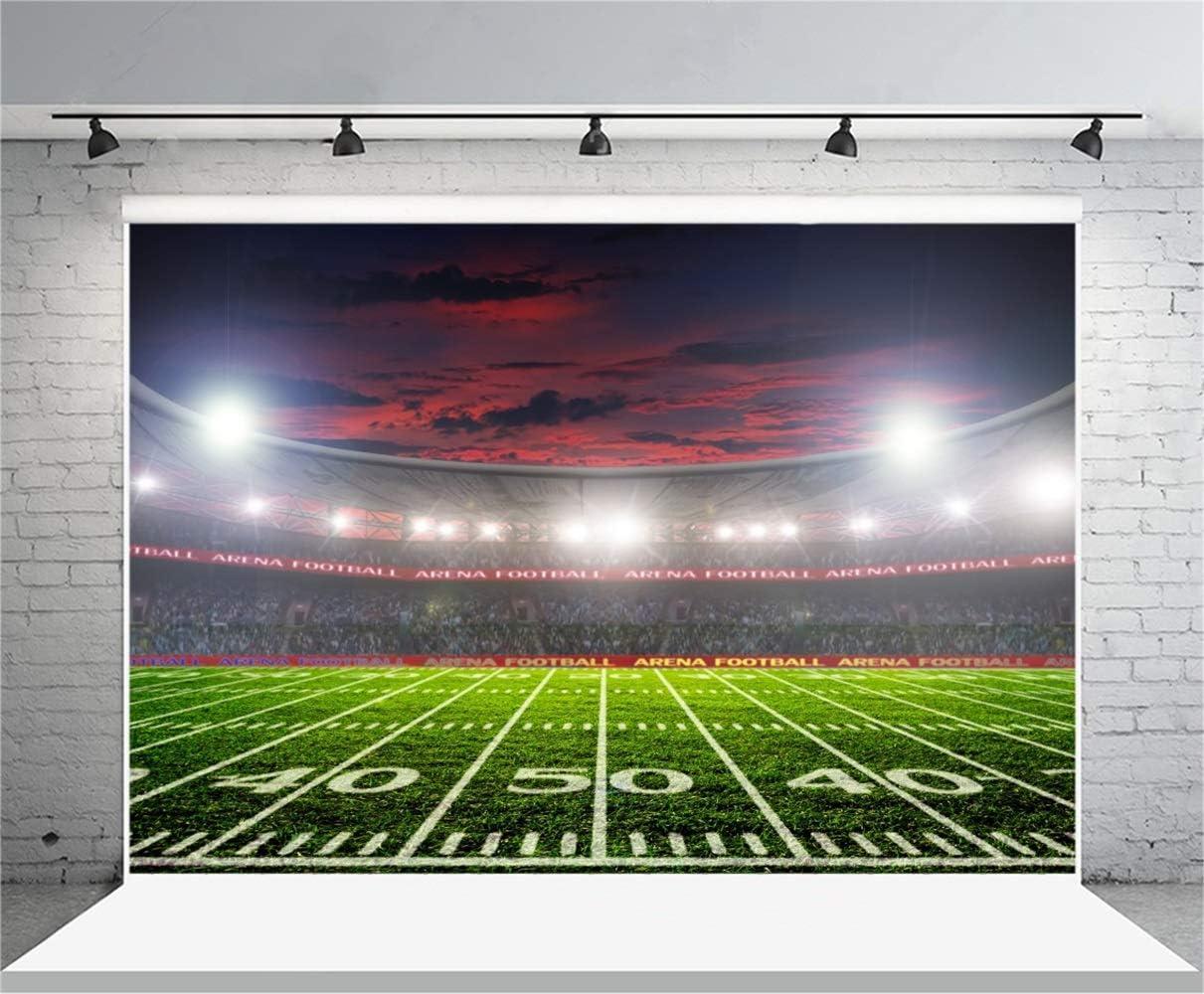 7x5ft Football Stadium Backdrop Vinyl Photography Background Green Grassland Stadium Spotlight Grass Field Football Match Children Kids Adult Portrait Photo Video Studio Props