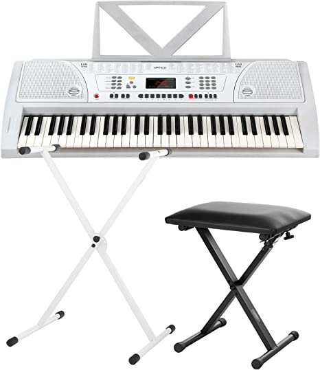 FunKey 61 Plus Keyboard blanco, set. incl. soporte para teclado + banqueta