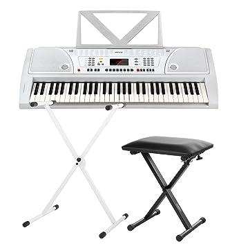 FunKey 61 Plus Keyboard blanco, set. incl. soporte para teclado + banqueta: Amazon.es: Instrumentos musicales