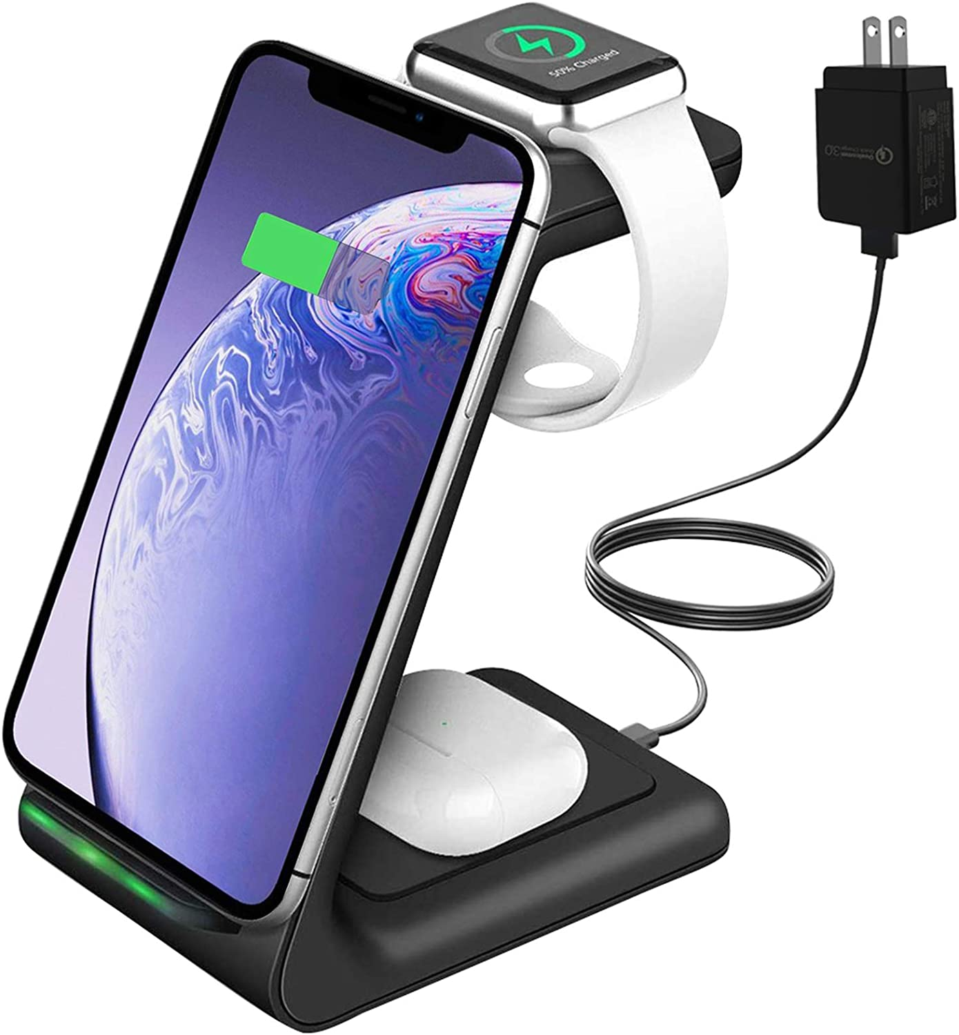 YOCUNKER Wireless Charger, 3 in 1 Wireless Charging Station for Apple Watch 5/4/3/2/1 & AirPods 2 / Pro Fast Qi Charger Dock for iPhone 11 / Xs/X Max/XR/X / 8Plus / Samsung (Included Adapter)