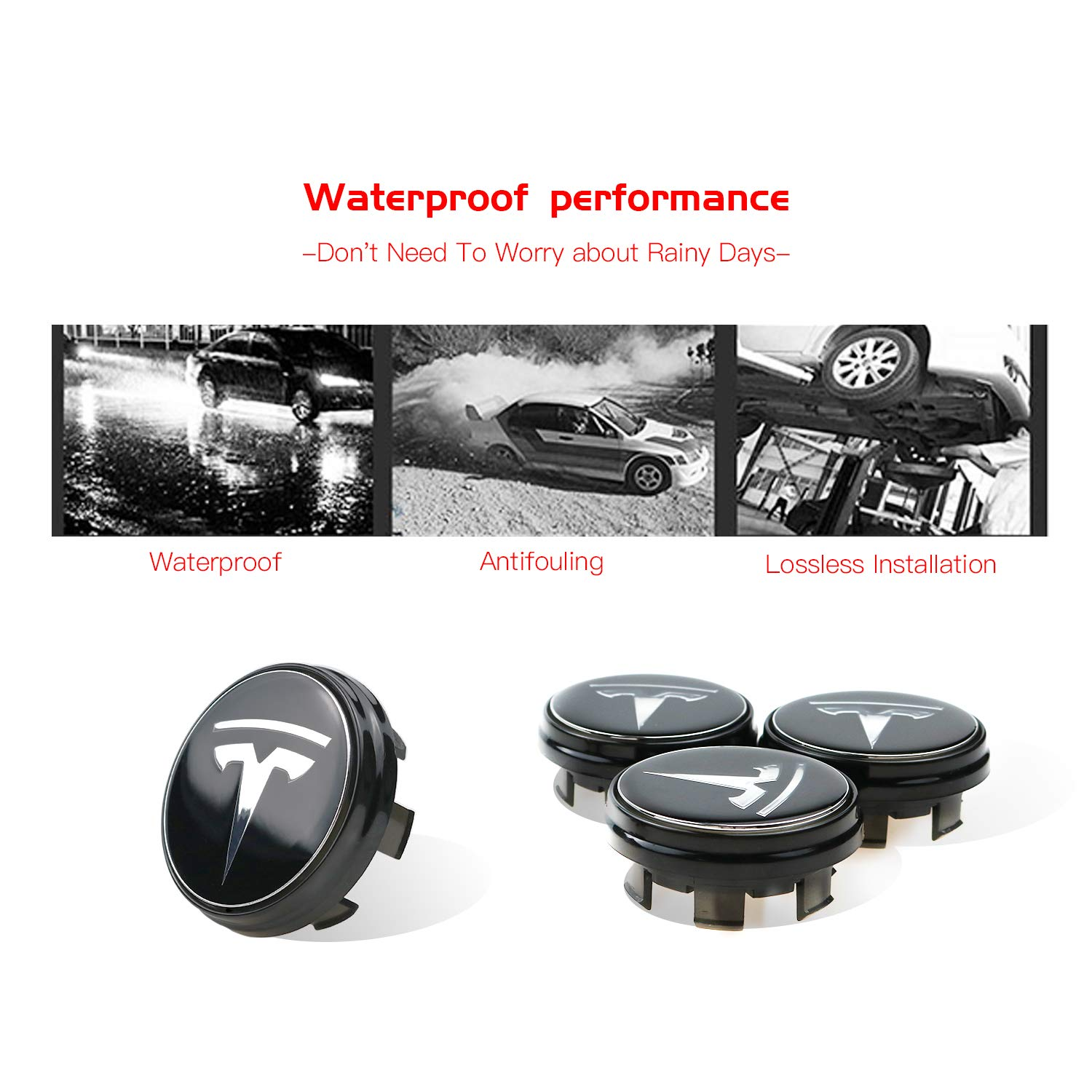 R RUIYA Tesla Model 3 S X Accessory 4PCS Wheel Lights LED Hub Center Caps Cover Car Modification Special Atmosphere Lamp